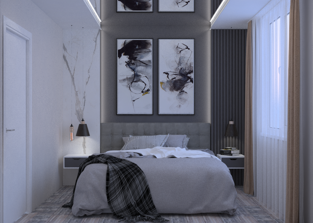 In the basis of this Bedroom conception are clear lines, simplicity, comfort and lightness. The palette contains white, black colors and neutral shades, while bright accents are welcome. The main element is graphic lines, free space, minimum number of decor elements and furniture items. This modern style is also cosy and comfortable for everyday life.