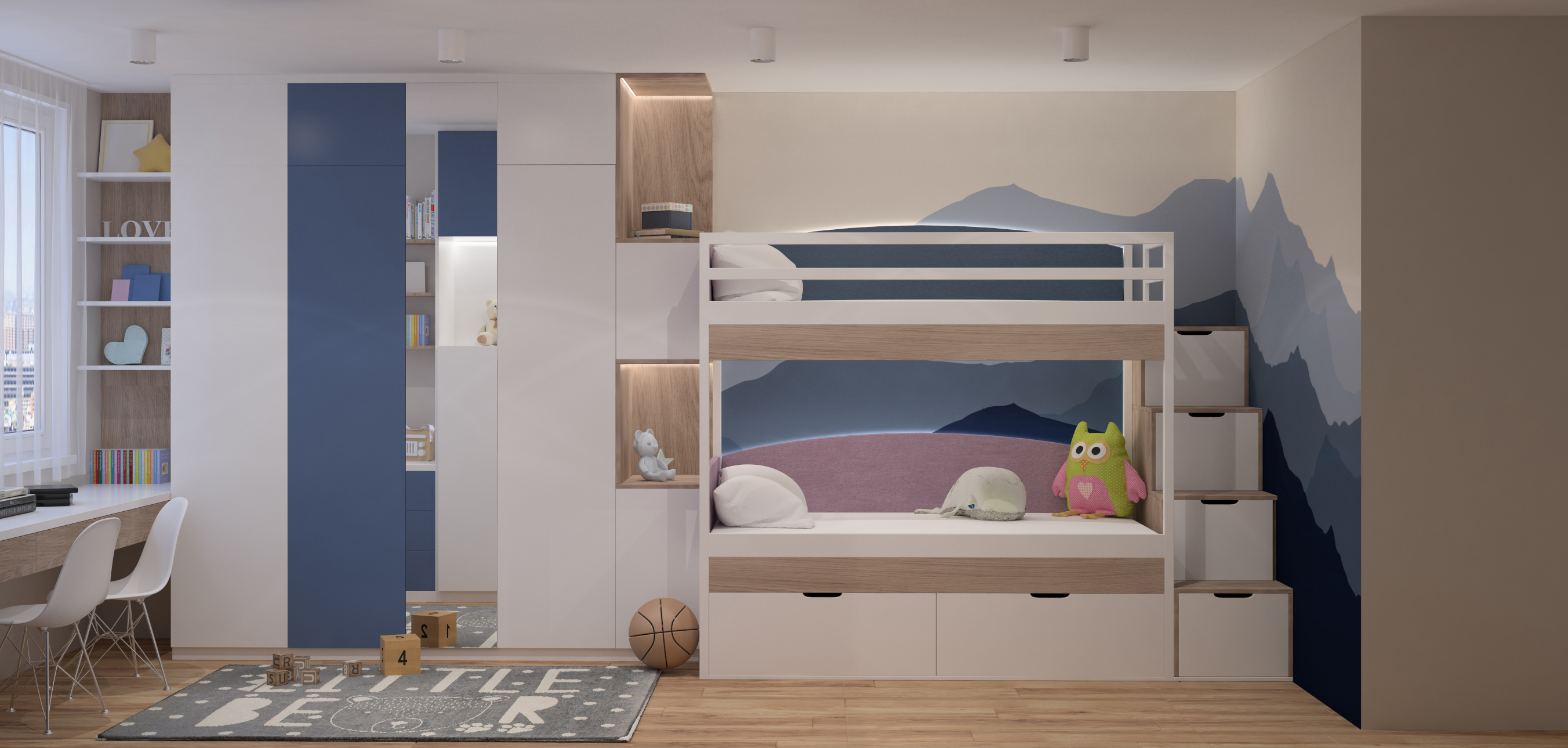 his playful kids bedroom is desighed with the understanding the kids' characters. The room style matches with the whole style of the house. Having a pastel color with simple decoration is one of the inspiration for shared room in order for them to have neutral color and the nuance or warm and calmness in their bedroom. The additional things like mat and paintings is going to make the room even better .Bunk Bed provides two bed in one room with one is in the top and another one is in the bottom. Both bed are connected by stairs. Bunk bed saves the room space and is decorated in accordance to the children's interest.